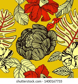 Tropical fruits in bright colours, exotic pattern.