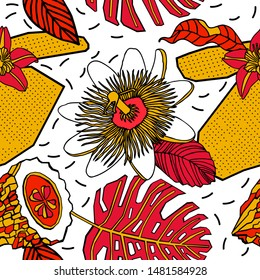 Tropical fruits and flowers, print design.
