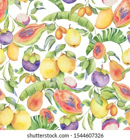 Tropical fruits and leaves hand drawn watercolor pattern. Perfect for fabric, cards and package design.