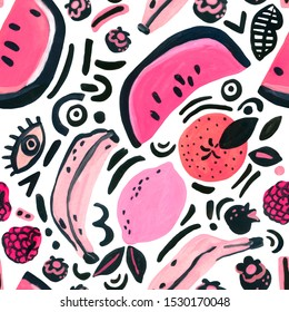 Tropical fruits seamless pattern. Unusual trendy background with watermelon, banana, orange, lemon, berries pop art doodles. Hand painted watercolor illustration in 80s 90s pop art, hipster style.