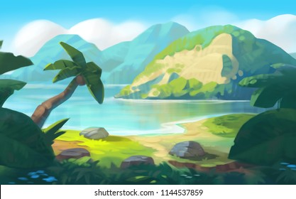 Tropical Game Background with Mountains and River, Realistic Style. Game Art Digital CG Artwork, Concept Illustration, Cartoon Style Scene Design