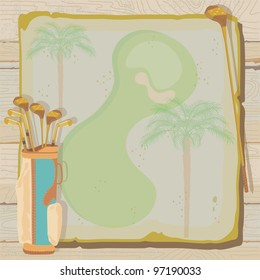 Tropical golf party or tournament invitation with a vintage aged feel. Golf bags with golf clubs on grungy vintage paper with faded palm trees, set against a weathered wood background.