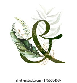 Tropical Green Gold Floral Alphabet - ampersand & with green gold leaves. Collection for wedding invites decoration, birthdays and other concept ideas.