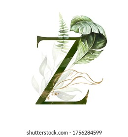 Tropical Green Gold Floral Alphabet - letter Z with green gold leaves. Collection for wedding invites decoration, birthdays & other concept ideas.