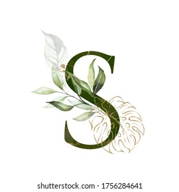 Tropical Green Gold Floral Alphabet - letter S with green gold leaves. Collection for wedding invites decoration, birthdays & other concept ideas.