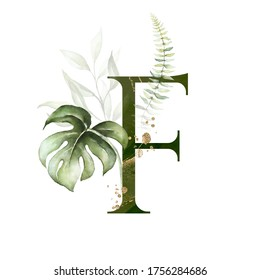 Tropical Green Gold Floral Alphabet - letter F with green gold leaves. Collection for wedding invites decoration, birthdays & other concept ideas.