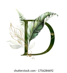 Tropical Green Gold Floral Alphabet - letter D with green gold leaves. Collection for wedding invites decoration, birthdays & other concept ideas.