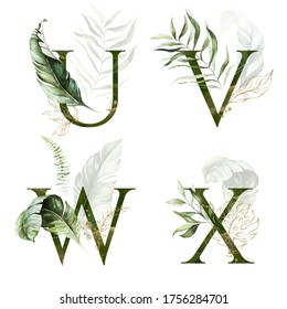 Tropical Green Gold Floral Alphabet Set - letters U, V, W, X with green gold leaves. Collection for wedding invites decoration, birthdays & other concept ideas.