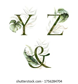 Tropical Green Gold Floral Alphabet Set - letters Y, Z, & ampersand with green gold leaves. Collection for wedding invites decoration, birthdays & other concept ideas.