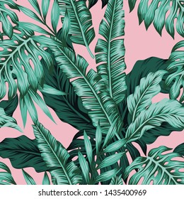 Tropical green leaves seamless pattern pink background. Exotic wallpaper