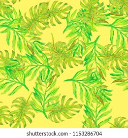 green palm leaves on the white background tropical watercolor