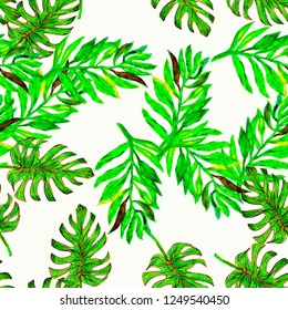 Tropical Green seamless watercolour monstera pattern. Hand painted watercolor illustration monster. Tropical seamless botanical watercolor exotic floral pattern. Palm leaves. Green rainforest leaf.
