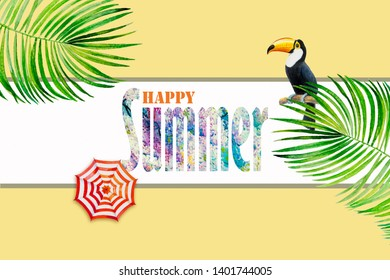 Tropical happy summer text with Toucan bird. Watercolor hand drawn palm leaf, flower texture on yellow background. Painting illustration with business, banners poster, travel, advertising of summery.