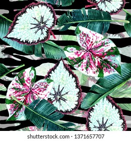 Tropical Hawaii. Green leaf plants garden floral foliage. Exotic tropical Hawaiian summer. Palm tree beach leaves jungle botanical. Seamless background pattern. Fabric wallpaper with print texture. -