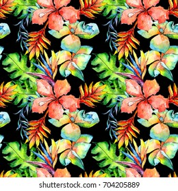 Tropical Hawaii leaves palm tree  pattern in a watercolor style. Aquarelle wild flower for background, texture, wrapper pattern, frame or border.