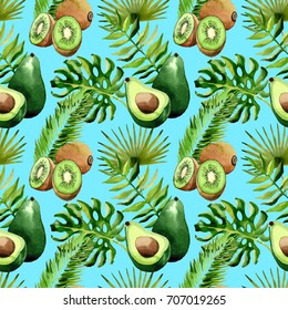 Tropical Hawaii leaves palm tree, kiwi and avocado pattern in a watercolor style. Aquarelle wild flower for background, texture, wrapper pattern, frame or border.