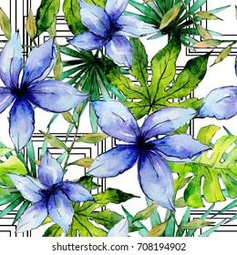 Tropical Hawaii leaves plants pattern  in a watercolor style. Aquarelle wild flower for background, texture, wrapper pattern, frame or border.