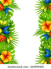 Tropical hawaiian background with jungle palm tree leaves, exotic flowers and rainbow butterflies. Vertical  invitation banners with hibiscus floral decorations and copy space
