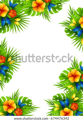 Tropical Hawaiian Background Jungle Palm Tree Ilustración de ...