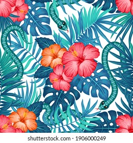 Tropical hawaiian pattern with snakes, palm leaves and hibiscus flowers