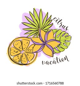 Tropical illustration with citrus fruit lemon, leafs and a flower.