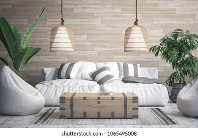 Tropical interior , 3D render