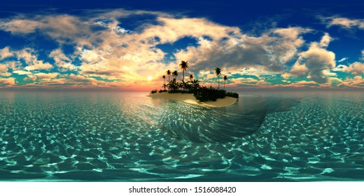 Tropical island with a palm tree at sunset. HDRI, environment map , Round panorama, spherical panorama, equidistant projection, panorama 360, seascape, 3d rendering.