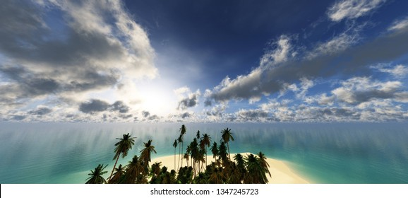Tropical island with palm trees in the ocean, 3d rendering