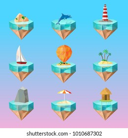 Tropical island symbols polygonal icons set on beautiful color gradient background with palm sailboat lighthouse dolphin  illustration