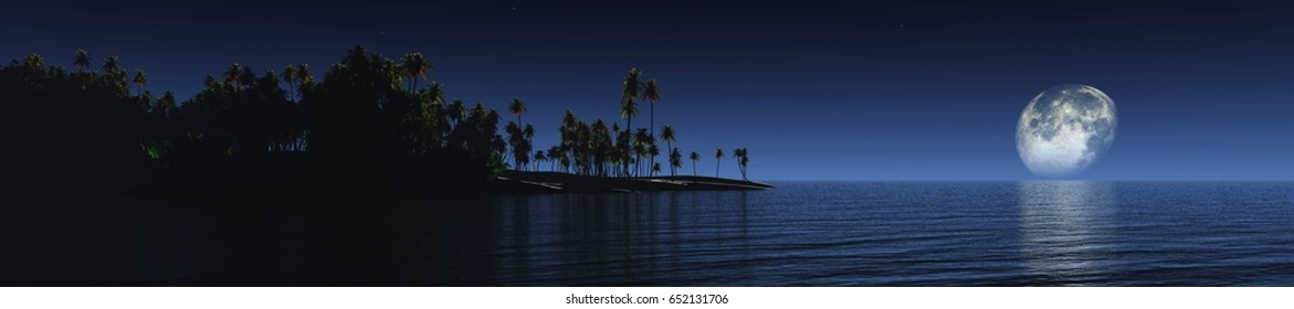 Tropical island under the moon, night ocean, shore at night, palm trees above the water under the moon, 3d rendering