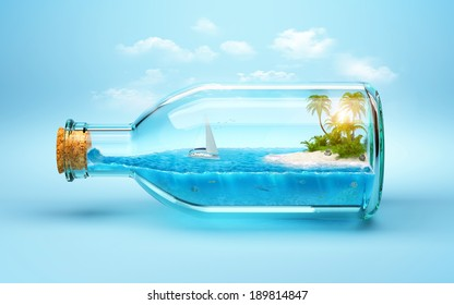 tropical island and underwater world in  the bottle. Traveling, vacation