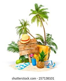 Tropical island. Unusual traveling illustration