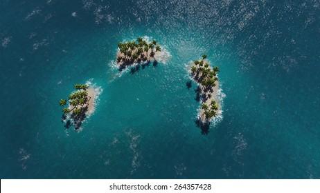 Tropical islands in ocean