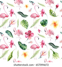 Tropical isolated seamless pattern with flamingo. Watercolor tropic drawing, rose bird and greenery palm tree, tropic green texture, exotic flower. Aloha collection