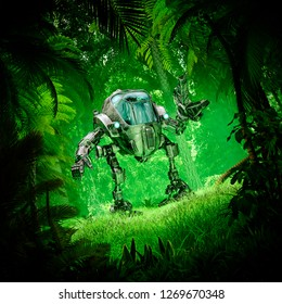 Tropical jungle mech robot / 3D illustration of science fiction scene with robot exploring lush green forest