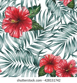 Tropical jungle nature palm leaves ,hibiscus flower fruit pattern seamless watercolor hawaii design isolated on white background