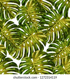 Tropical leaf design featuring yellow and green monstera plant leaves on a white background. Seamless vector repeating pattern.