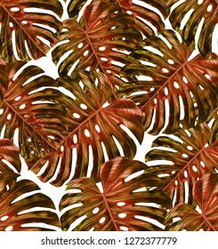 Tropical leaf design featuring yellow and red monstera plant leaves on a white background. Seamless vector repeating pattern.