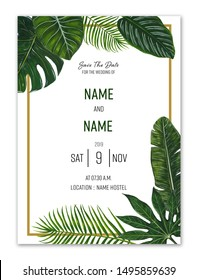 Tropical leaf Wedding invitation card, save the date, thank you, brochure, invite template and background. Business identity style.  illustration Watercolor drawing.