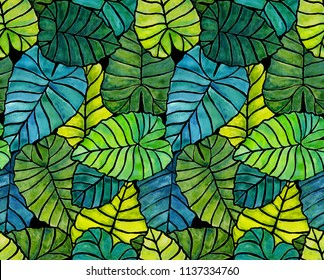 Tropical Leaves Background Design Pattern in Blue and Green