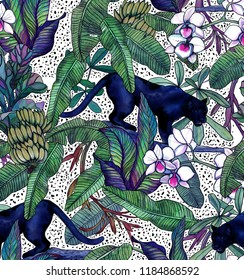 Tropical leaves, bananas, panther and orchid. Seamless vintage pattern. Wallpapers with tropical flowers and leaves