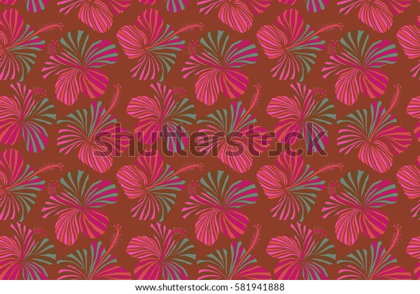 Tropical leaves and brown flowers seamless pattern. Hand painted illustration in brown colors.