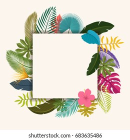 Tropical leaves floral vintage with space for text, easy to edit. suitable for invitation, nature concept, and other