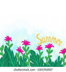"""Tropical leaves and flowers with lettering """"Summer"""". Background. Illustration."""