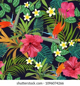 Tropical leaves and flowers seamless pattern colorful isolated hand drawn plants