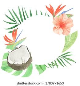Tropical leaves frame. Exotic fruit frame.Logo element. Thank you card