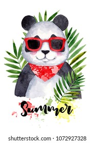 Tropical leaves and funny panda with sunglasses. Hand drawn summer poster