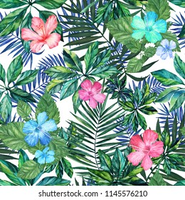 Tropical leaves and hibiscus flowers on white background. Watercolor, handmade, seamless pattern, 3D illustration.  For background, textile, fashion, texture, printing, Wallpaper, illustration.
