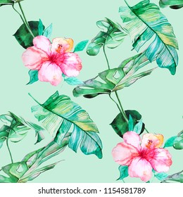 Tropical leaves and hibiscus flowers watercolor illustration pattern