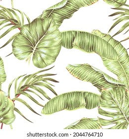 Tropical leaves, jungle foliage floral seamless pattern background. Vintage botanical exotic illustration wallpaper. Hand drawn art for surface design, fabric, interior decor, wallpaper